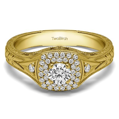 0.48 Ct. Round Three Stone Vintage Double Halo Engagement Ring in Yellow Gold
