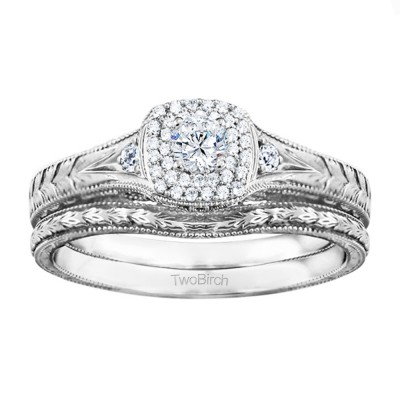 Three Stone Vintage Double Halo Engagement Ring Bridal Set (2 Rings) (0.48 Ct. Twt.)