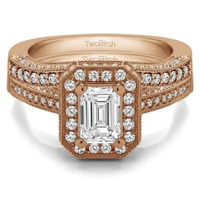Emerald Cut Halo Filigree Vintage Engagement Ring Bridal Set (2 Rings) (1.74 Ct. Twt.)
