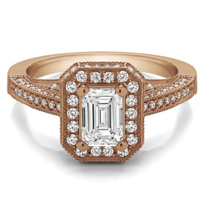 1.6 Ct. Emerald Cut Halo Filigree Vintage Engagement Ring in Rose Gold