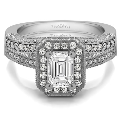 Emerald Cut Halo Filigree Vintage Engagement Ring Bridal Set (2 Rings) (1.74 Ct. Twt.)