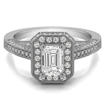 1.6 Ct. Emerald Cut Halo Filigree Vintage Engagement Ring