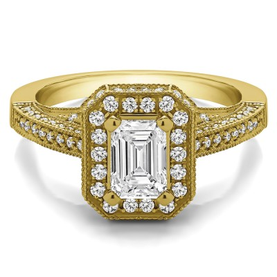 1.6 Ct. Emerald Cut Halo Filigree Vintage Engagement Ring in Yellow Gold