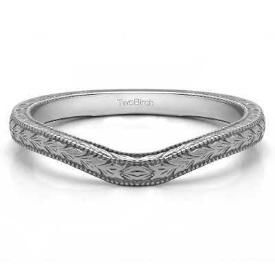 Plain Millgrained Vintage Engraved Matching Wedding Ring