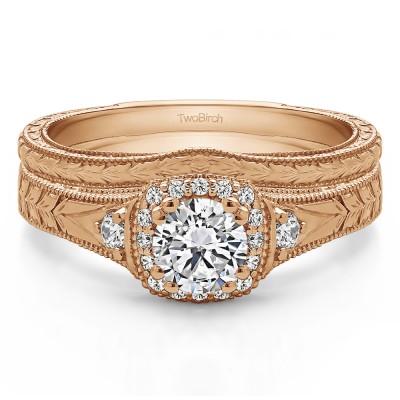 Round Three Stone Vintage Halo Engagement Ring Bridal Set (2 Rings) (0.65 Ct. Twt.)