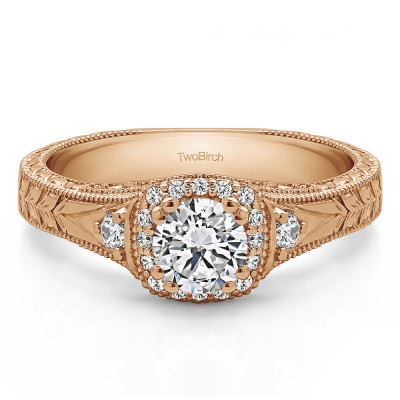 0.65 Ct. Round Three Stone Vintage Halo Engagement Ring with Engraved Shank in Rose Gold