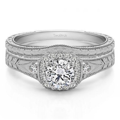 Round Three Stone Vintage Halo Engagement Ring Bridal Set (2 Rings) (0.65 Ct. Twt.)