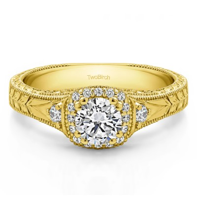 0.65 Ct. Round Three Stone Vintage Halo Engagement Ring with Engraved Shank in Yellow Gold