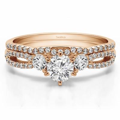 Three Stone Infinity Engagement Ring Bridal Set (2 Rings) (0.89 Ct. Twt.)