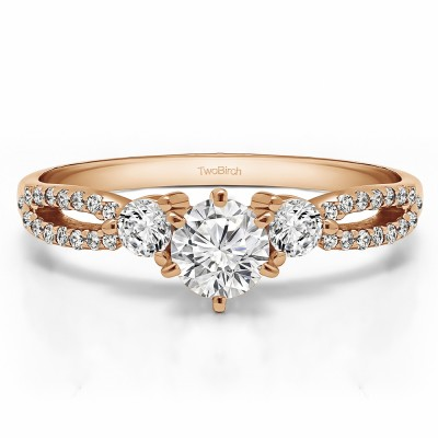 0.83 Ct. Round Three Stone Infinity Engagement Ring in Rose Gold