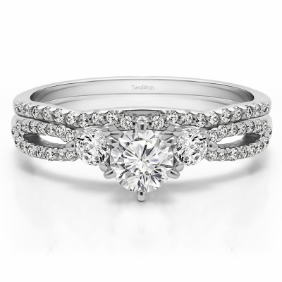 Three Stone Infinity Engagement Ring Bridal Set (2 Rings) (0.89 Ct. Twt.)