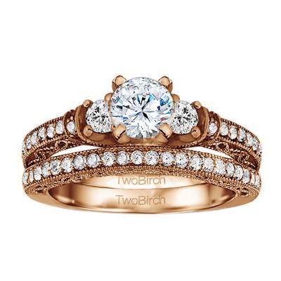 Three Stone Vintage Embellished Profile Engagement Ring Bridal Set (2 Rings) (2.09 Ct. Twt.)