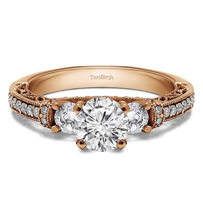 1.78 Ct. Round Three Stone Vintage Engagement Ring with Filigree in Rose Gold