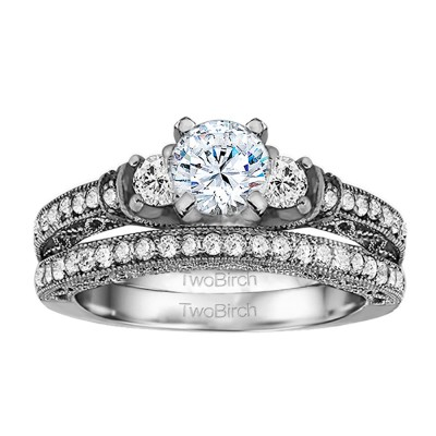 Three Stone Vintage Embellished Profile Engagement Ring Bridal Set (2 Rings) (2.09 Ct. Twt.)