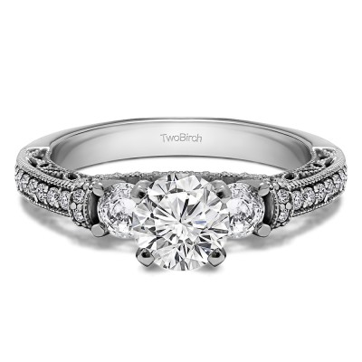 1.78 Ct. Round Three Stone Vintage Engagement Ring with Filigree