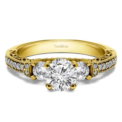 1.78 Ct. Round Three Stone Vintage Engagement Ring with Filigree in Yellow Gold