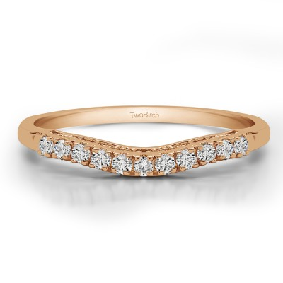 0.22 Carat Curved Shared Prong Vintage Band
