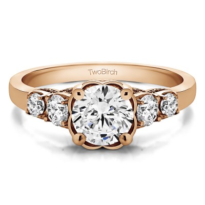 1.49 Ct. Round Flower Set Engagement Ring in Rose Gold