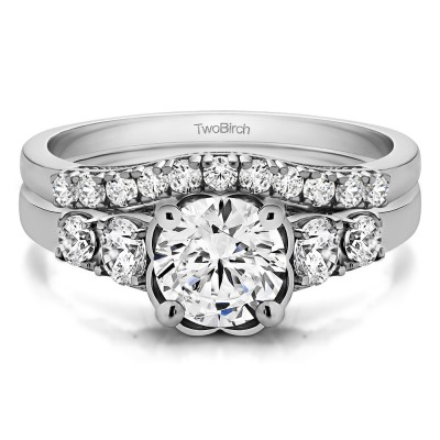 Round Flower Set Engagement Ring Bridal Set (2 Rings) (1.71 Ct. Twt.)