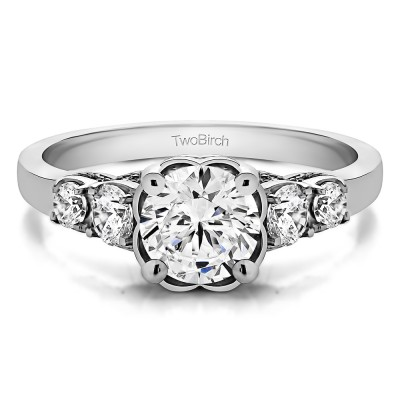1.49 Ct. Round Flower Set Engagement Ring