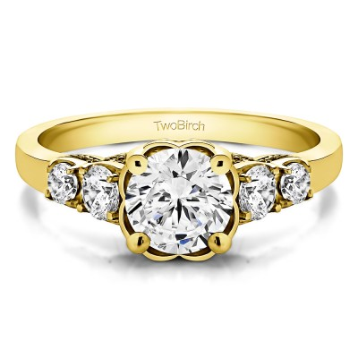 1.49 Ct. Round Flower Set Engagement Ring in Yellow Gold