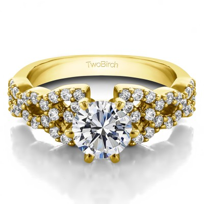 1.72 Ct. Round Infinity Engagement Ring in Yellow Gold