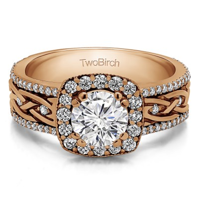 1.56 Ct. Round Halo Engagement Ring with Celtic Braided Shank in Rose Gold