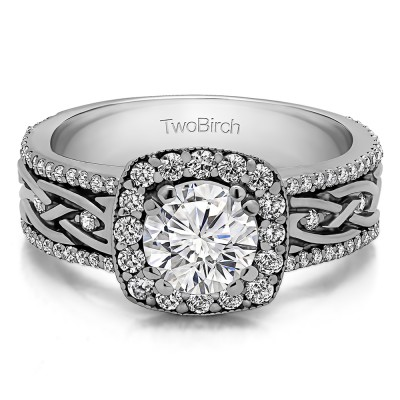 1.56 Ct. Round Halo Engagement Ring with Celtic Braided Shank