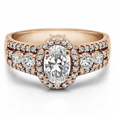 1.73 Ct. Oval Halo Engagement Ring in Rose Gold