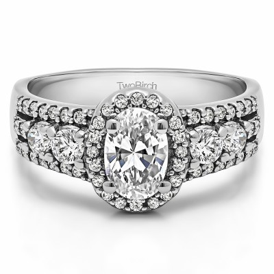1.73 Ct. Oval Halo Engagement Ring