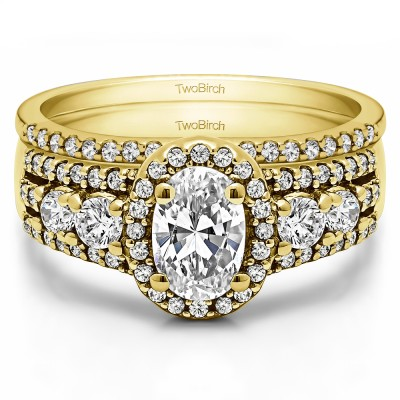 Oval Halo Engagement Ring Bridal Set (2 Rings) (1.83 Ct. Twt.)