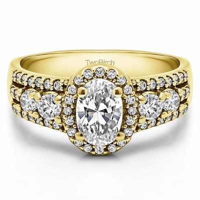 1.73 Ct. Oval Halo Engagement Ring in Yellow Gold