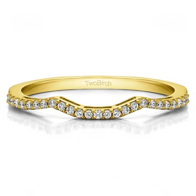0.125 Carat Scalled Edge Matching Wedding Ring for Halo Engagement Ring