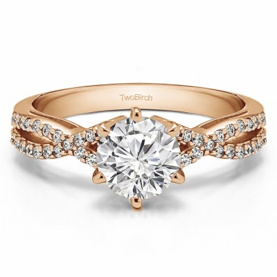 1.21 Ct. Round Engagement Ring with Infinity Shank in Rose Gold