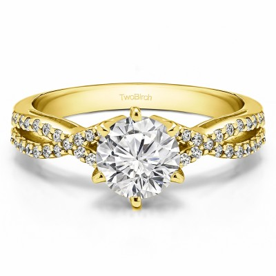 1.21 Ct. Round Engagement Ring with Infinity Shank in Yellow Gold