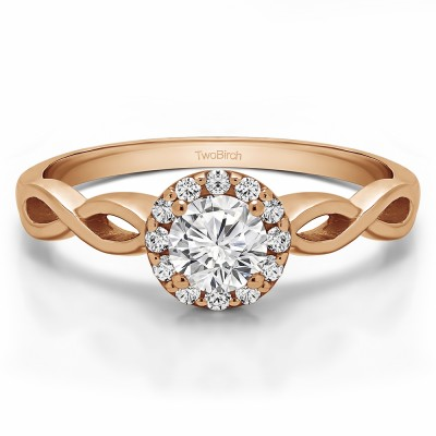 0.62 Ct. Halo Engagement Ring with Infinity Shank in Rose Gold