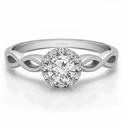 0.62 Ct. Halo Engagement Ring with Infinity Shank