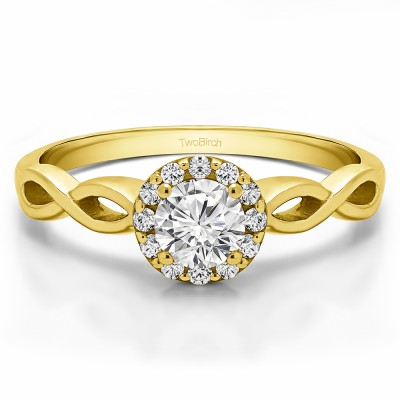 0.62 Ct. Halo Engagement Ring with Infinity Shank in Yellow Gold