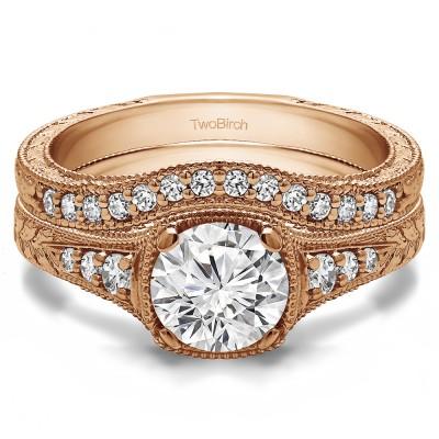 Round Vintage Engagement Ring Bridal Set (2 Rings) (2.38 Ct. Twt.)