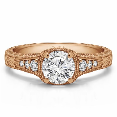 1.27 Ct. Round Vintage Engagement Ring with Graduated Stones in Rose Gold
