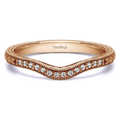 0.105 Carat Curved Vintage Matching Wedding Ring