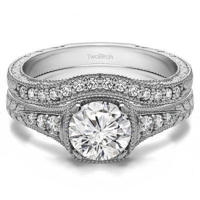 Round Vintage Engagement Ring Bridal Set (2 Rings) (2.38 Ct. Twt.)