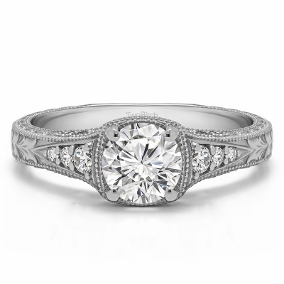 1.27 Ct. Round Vintage Engagement Ring with Graduated Stones
