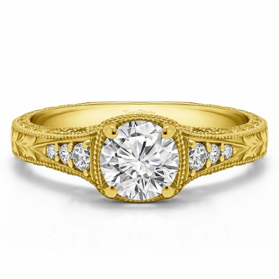 1.27 Ct. Round Vintage Engagement Ring with Graduated Stones in Yellow Gold