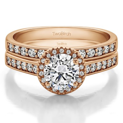 Round Timeless Halo Engagement Ring Bridal Set (2 Rings) (1.58 Ct. Twt.)