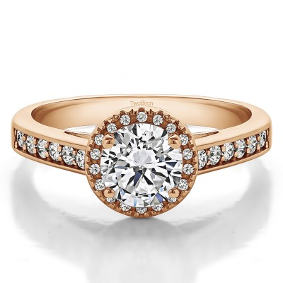 1.32 Ct. Round Vintage Halo Engagement Ring in Rose Gold