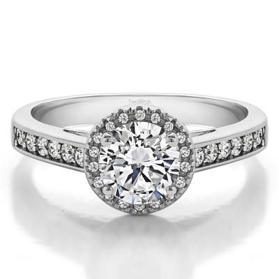 1.32 Ct. Round Vintage Halo Engagement Ring