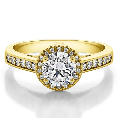 1.32 Ct. Round Vintage Halo Engagement Ring in Yellow Gold