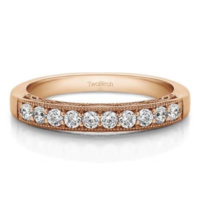 0.7 Carat Vintage Filligree Matching Wedding Ring