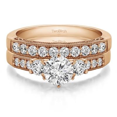 Three Stone Vintage Filigree and Millgrain Engagement Ring Bridal Set (2 Rings) (1.94 Ct. Twt.)